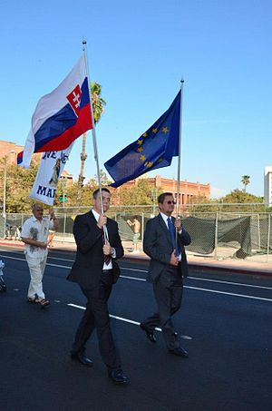 Queen of Angels Foundation - Delegation from the Slovakian Consulate General marching in the 2012 Grand Marian Procession