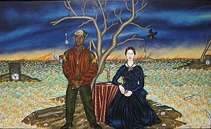 Douglas Bourgeois - Image: Douglas Bourgeois 'Two Poets on an Island', 1991, oil on wood panel, HAA (Emily Dickinson & Rakim Allah)