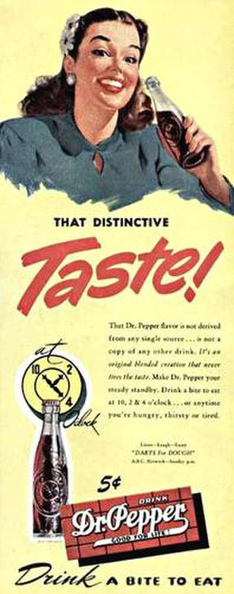 "Dr Pepper - This 1947 ad shows the logo as it looked before the period was removed after ""Dr""."