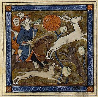 Erec (poem) - King Arthur hunting the White Stag. From a 13th century MS of Chrétien's Erec et Enide.
