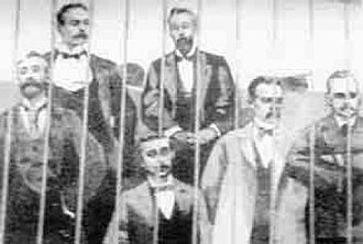 Fasci Siciliani - The heads of the Fasci Siciliani in the courtroom cage at the trial in April 1894
