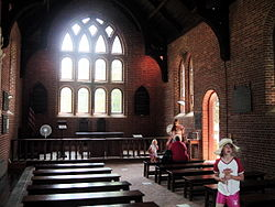 The Inside of the current Jamestown Church, upon the general site of the original and the location where the first law in America was made