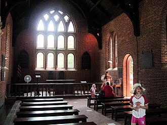 History of the Episcopal Church (United States) - Interior of the First Church in Jamestown, Virginia.