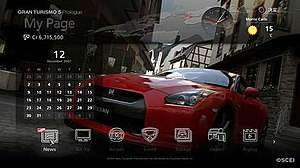 Gran Turismo 5 Prologue - My Page interface in Gran Turismo 5 Prologue (Japanese version 1.01).