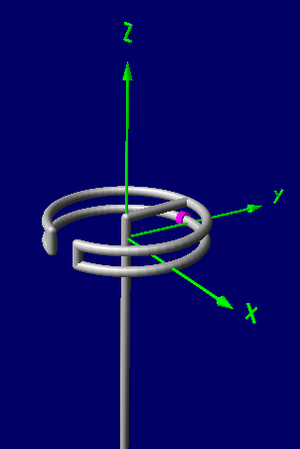 "Halo antenna -  A ""folded dipole"" type of halo. Gain along Y axis 1.2 dBi, Gain along Z axis -1 dBi, Gain along X axis -1.7 dBi. Fed at the center of the bottom conductor (feed wires not shown), supported at the center of the top conductor which is at ground potential for RF. This is similar to the halo as originally patented."