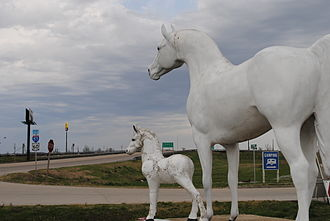 Mississippi County, Missouri - 3Horse statues at fireworks retailer Boomland overlooking Interstate 57.