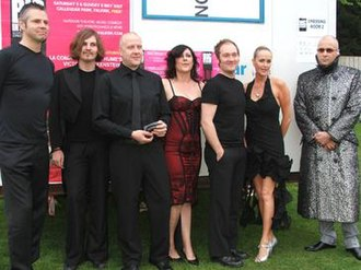 The Human League - At Falkirk festival in May 2007; from left: Sutton, Burke, Beevers, Catherall, Barton, Sulley, Oakey.