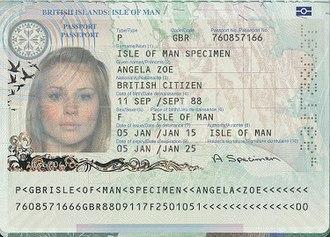 Isle of Man passport - The biodata page of the Manx biometric passport