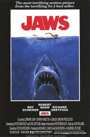 Jaws (film) - Theatrical release poster by Roger Kastel