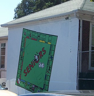 Kew-Forest School - A school tradition is to paint a mural on a wall facing the playground that lasts the whole year. This 2008 mural is themed on the board game Monopoly. The 1980 mural was themed on the Pink Floyd hit Another Brick in the Wall.