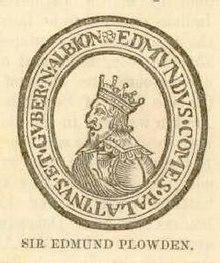 """Un homme avec une couronne, entouré d'un cercle d'inscriptions latines, avec le nom """"Sir Edmund Plowden"""" en bas."""