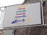 The Louisville Convention and Visitors Bureau displays many of the common pronunciations of the city's name on its logo.