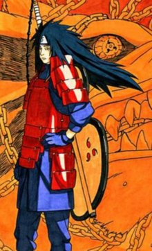 A long-haired male character wearing purple clothing underneath a red armor