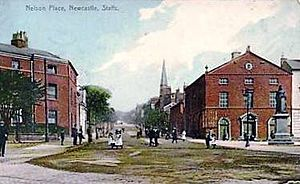Newcastle-under-Lyme - Nelson Place and view up King Street, from a postcard, c. 1900