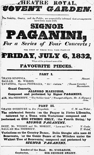 Niccolò Paganini - Playbill of Paganini's concert at the Theatre Royal in 1832. Note that all solo pieces were of his composition, which was typical of all his concerts.
