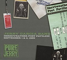 A Merriweather Post Pavilion ticket stub, a Keystone Berkeley napkin, two photos of Jerry Garcia as a stage magician conjuring a guitar from out of a hat, and a backstage pass for the Jerry Garcia Band