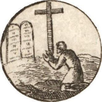 "Penance - A 17th-century depiction of one of the 28 articles of the Augsburg Confession by Wenceslas Hollar, which divides repentance into two parts: ""One is contrition, that is, terrors smiting the conscience through the knowledge of sin; the other is faith, which is born of the Gospel, or of absolution, and believes that for Christ's sake, sins are forgiven, comforts the conscience, and delivers it from terrors."""