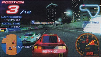 "Ridge Racer 2 (2006 video game) - In-game screenshot of a custom race, taking place on the track ""Shuttleloop Highway"". The featured car is Kamata Fiera Type-S."
