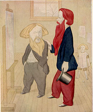 Ford Madox Brown - Brown, at left, with William Holman Hunt. Caricature by Max Beerbohm from Rossetti and His Circle.