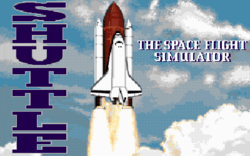 Title screen for the MS-DOS version of 'Shuttle'