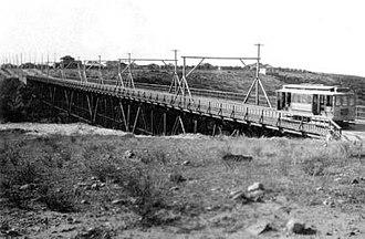 30th Street (San Diego) - The original Switzer Canyon trolley bridge, circa 1908