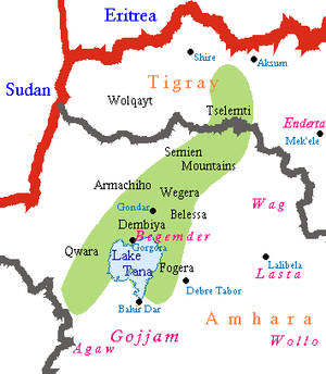 Approximate area of Ethiopian Jews (Beta Israel).
