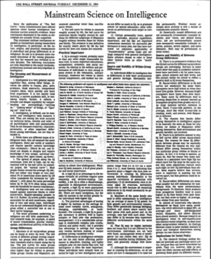 Mainstream Science on Intelligence - The article as it appeared in the Wall Street Journal on Tuesday December 13, 1994