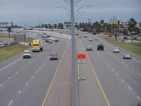 US Highway 83 running through a major retail district of McAllen.
