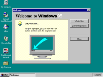 Windows 95 - Image: Windows 95 at first run