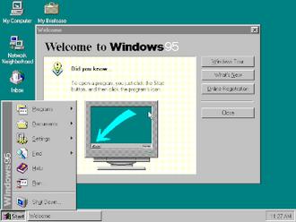 Windows 95 - Image: Windows 95 at first run