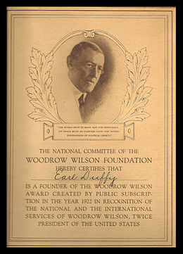 woodrow wilson foundation  engraved certificate given by the woodrow wilson foundation to donors to its 1922 endowment fund drive