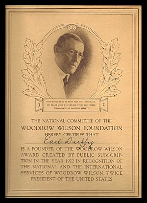 Woodrow Wilson Foundation - Engraved certificate given by the Woodrow Wilson Foundation to donors to its 1922 endowment fund drive.