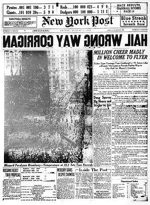 Douglas Corrigan - New York Post headline.