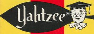 Yahtzee - Logo of the game as originally published in 1954. It includes a caricature of E. S. Lowe, the person responsible for the game's production.