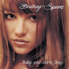 "The picture of a young woman who looks the camera. She has straight brown hair and wears soft make-up. At top the image, the words ""Britney Spears"" are written in white cursive letters, while at the bottom ""...Baby One More Time""."