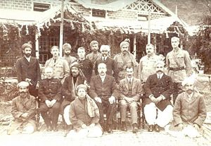 Amb (princely state) - This picture is from 1917, Darband. In this photo: Nawab Sir Muhammad Khan Zaman Khan (seated second from left), Sir George Roos-Keppel (seated third from left), Sahibzada Sir Abdul Qayyum Khan (seated first from right). (Sitting ground centre) Nawabzada Muhammad Farid Khan (son and successor of Nawab Sir Muhammad Khan Zaman Khan of Amb).