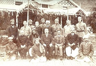 Amb (princely state) - This picture is from 1917, Darband. In this photo: Nawab Sir Muhammad Khan Zaman Khan Tanoli (seated second from left), Sir George Roos-Keppel (seated third from left), Sahibzada Sir Abdul Qayyum Khan (seated first from right). (Sitting ground centre) Nawabzada Muhammad Farid Khan Tanoli (son and successor of Nawab Sir Muhammad Khan Zaman Khan of Amb).