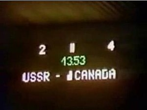 Punch-up in Piestany - The scoreboard in the darkened arena showing Canada leading 4–2