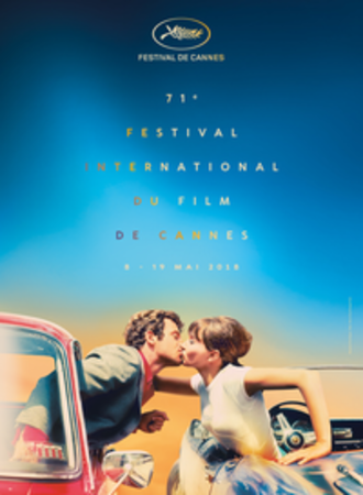 2018 Cannes Film Festival - Official poster of the 71st Cannes Film Festival featuring Jean-Paul Belmondo and Anna Karina in Pierrot le Fou (1965)