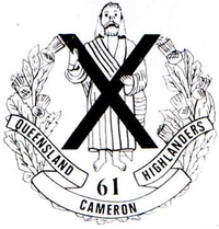 "A coat of arms consisting of a large X superimposed over a person, surrounded by a laurel wreath. Below this, the number ""61"" is presented above the words ""Queensland Cameron Highlanders"""