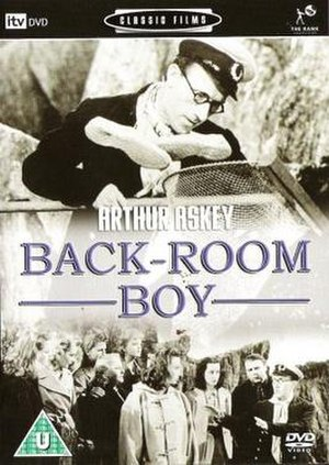 Back-Room Boy - DVD cover, with Withers in the centre and Askey at the far right