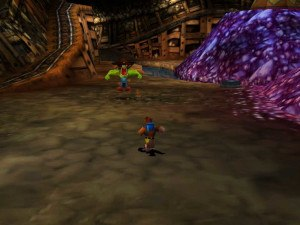 Banjo-Tooie - A view of the game's first world, Spiral Mountain. This area is used to later access the game's hub world.