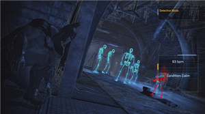 Batman uses detective mode to solve puzzles an...