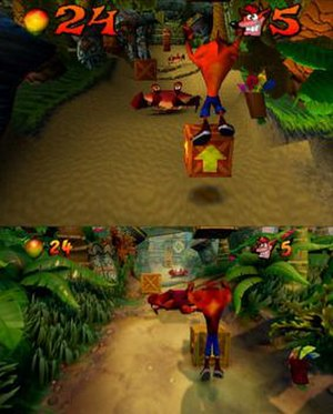 Crash Bandicoot N. Sane Trilogy - A comparison between the first level of the original game (above) and the N. Sane Trilogy version (below)