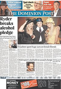 Dominion Post (Wellington) front page.jpg