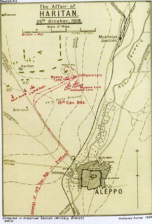 Charge at Haritan - Falls Sketch Map 43 Haritan 26 October 1918