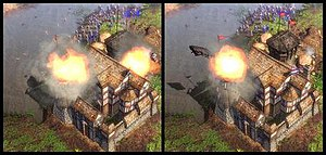 Age of Empires III - Example demonstrating Havok graphical production in Age of Empires III.  Building collapses are not pre-recorded animations. A troop of 6 cannon units and 44 rodeleros attacking a fort.  The building initially collapses in two different ways in two different games. (1) First image: two explosions, smokestack on right side breaks.  (2) Second image: one explosion, rooftop on left side breaks.