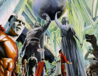 Fortress of Solitude - Superheroes gather inside the Fortress of Solitude in Justice. Art by Alex Ross.