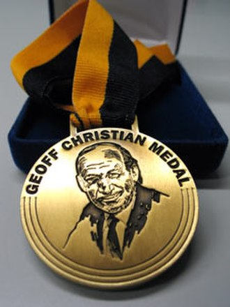 Geoff Christian Medal - The medal features an image of sports broadcaster Geoff Christian, after whom it is named.