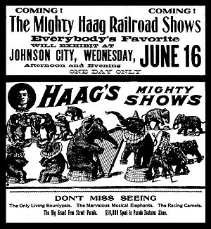 Mighty Haag Circus - June 1909 a Mighty Haag Circus newspapper add in Johnson-City, near Spartanburg, South Carolina